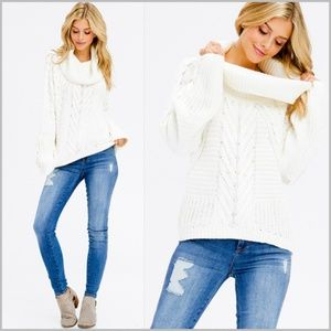 Ivory White Cable Knit Dolman Cowl Neck Sweater